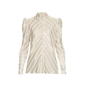 Medium matchesfashion hillier bartley high neck striped silk blouse