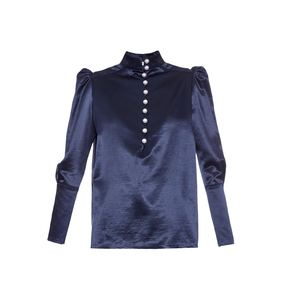 Medium hillier bartleycontrast button silk satin blouse