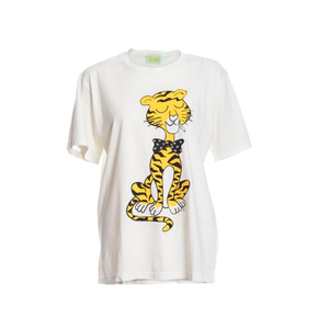 Medium youngbritishdesigners aries white tee  yellow cat