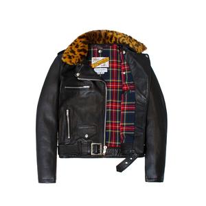 Medium made me x schott perfecto jacket tan leopard