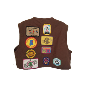 Medium official brownie girl scout uniform vest patches pins 1990s medium  ebay