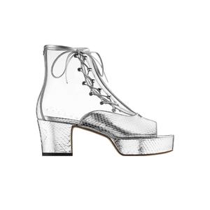 Medium chanel sandals pvc mirror pythin translucent  silver