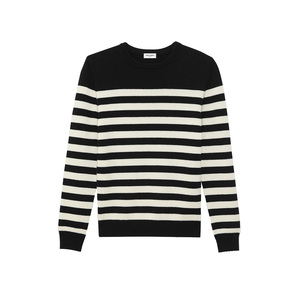 Medium ysl saint laurentlassic marinie re sweater in black and ivory striped cashmere