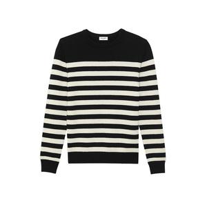 Medium ysl saint laurentlassic marinie re sweater in black and ivory striped cashmere