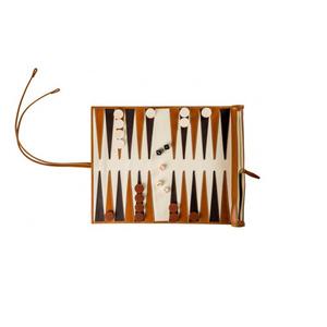 Medium conranshop travel backgammon whiskey leather   ivory canvas