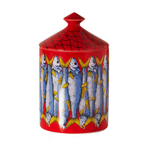 Medium netaporter fornasetti sardine thyme  lavender and cedarwood scented candle  300g