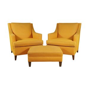 Medium pair of larson armchairs and ottoman in bright yellow