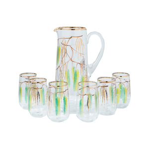 Medium hand painted jug and six glasses