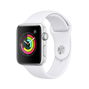 Medium apple watch series 3  gps  42mm    silver aluminium case with white sport band
