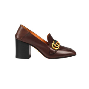 Medium leather mid heel loafer