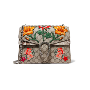 Medium gucci dionysus medium applique d coated canvas and python shoulder bag net a porter
