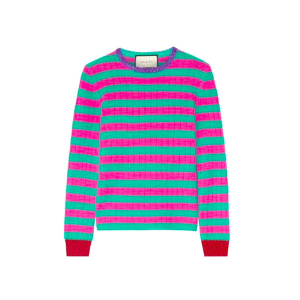 GUCCI. Metallic-trimmed striped cashmere and wool-blend sweater