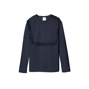 Medium trademark ruffle bib top in navy