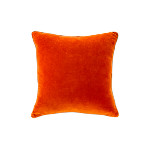 Medium velvet trim orange cushion linen moore