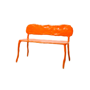 Medium clay bench in orange by maarten baas