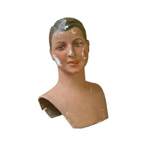 Medium vintage paper ma che  mannequin head  circa 1920s