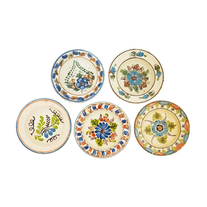 Medium antique set of five hungarian hand painted ceramic bowls with floral motifs