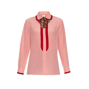 Medium gucci sequin neck bow silk crepe de chine oxford shirt