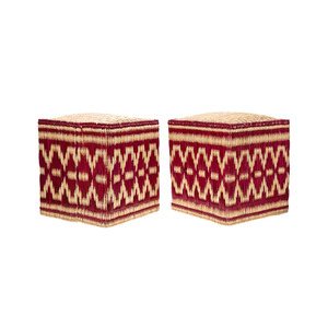 Medium pair of moroccan wicker stools with red decorations