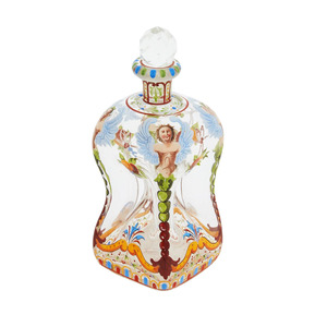 Medium rare j   l lobmeyr enameled art glass decanter  circa 1870