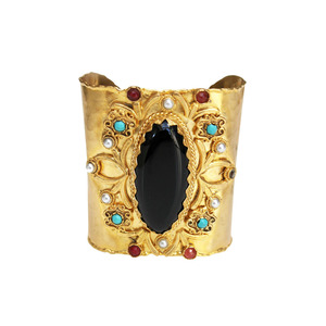 Medium unique gold plated cuff with central black agate from afghanistan