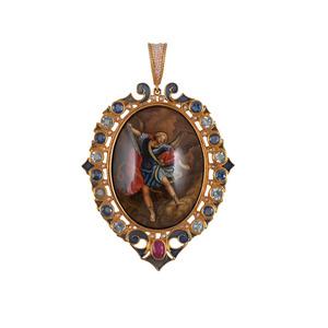 Medium unique pendant with miniature by diego percossi papi