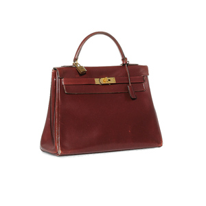 Medium hermes vintage 1973 burgandy box calf  kelly  bag