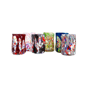 Medium set of six vintage tumblers handblown and painted in murano 2