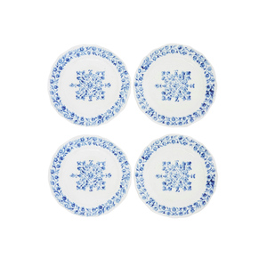 Medium handprinted blue and white ceramic plates set of four