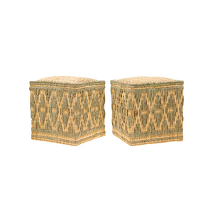 Medium pair of moroccan wicker stools with cord decorations