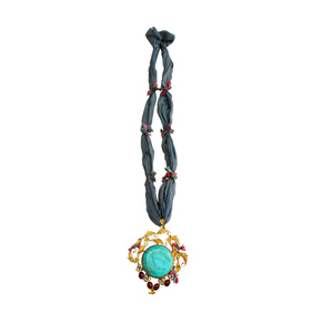 Medium unique gold pendant with turquoise from afghanistan