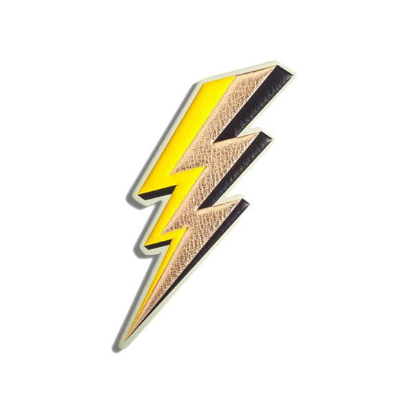Large anya hindmarch lightning bolt sticker metallic capra in pale gold