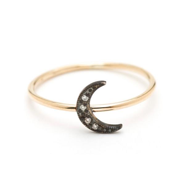 Large lena wald oxidized moon ring