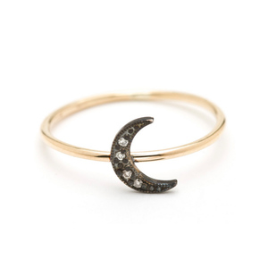Medium lena wald oxidized moon ring