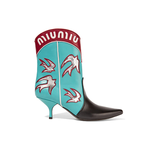 Medium miu miu ayers appliqu d leather boots