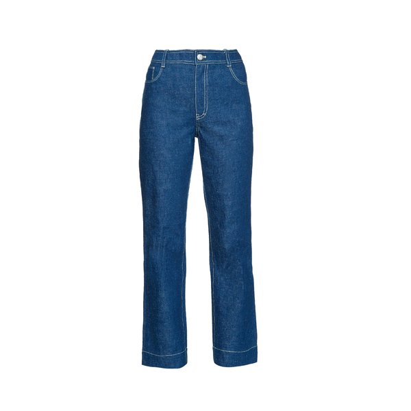 Large trademarkhigh rise flared jeans