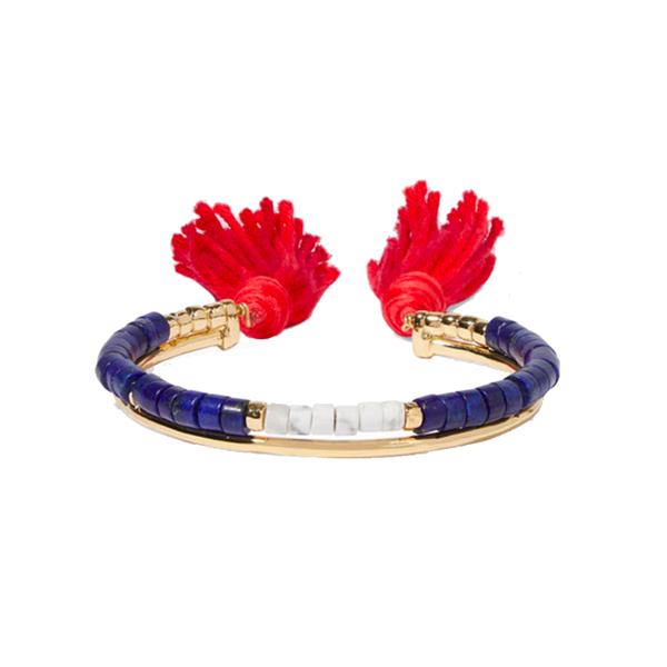 Large aur lie bidermann sioux gold plated  lapis lazuli  rhyolite and cotton cuff net a porter