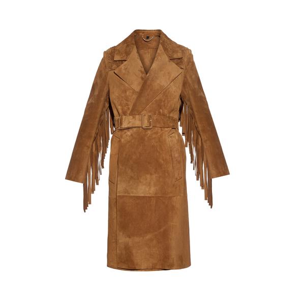 Large burberry prorsum fringed suede coat