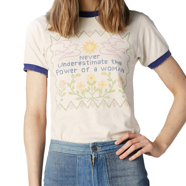 Large feminist ringer tee stoned immaculate