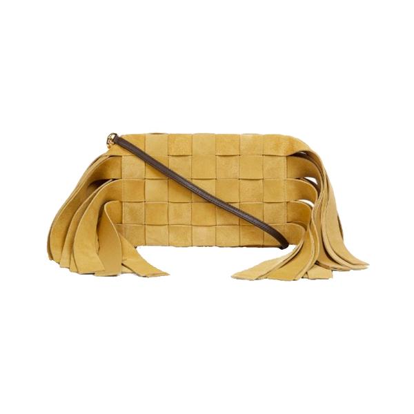 Large loewe fringed and woven suede clutch