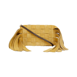Medium loewe fringed and woven suede clutch