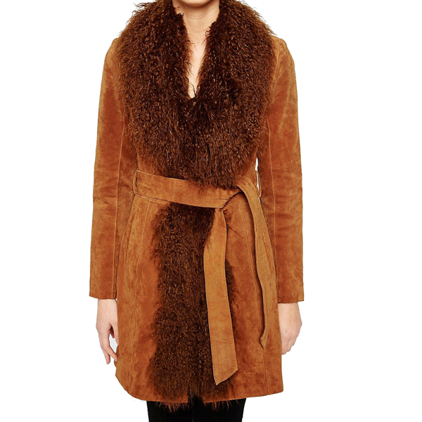 Large oasis mongolian trim real suede leather coat