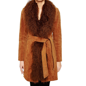 Medium oasis mongolian trim real suede leather coat