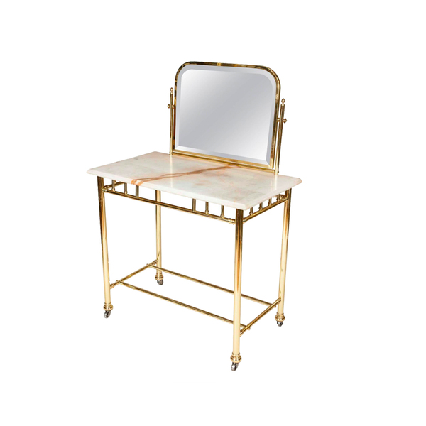 Large edwardian brass dressing table with marble top
