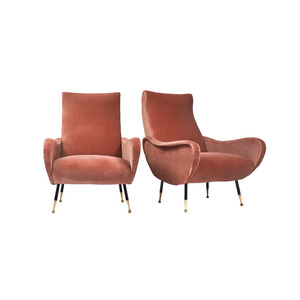 Medium mid century modern italian pair of armchairs in the style of marco zanuso