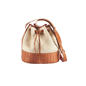 Medium hunting season bucket bag iraca with crocodile trim drawstring