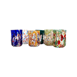Medium set of six vintage tumblers handblown and painted in murano laguna b