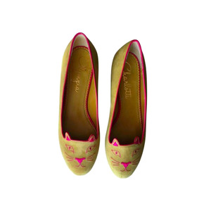 Medium charlotte olympia women yellow suede kitty flats vestiaire