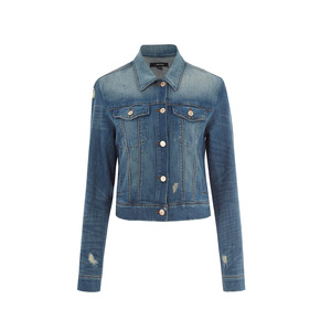 Medium j brand blue wash shrunken distressed harlow denim jacket