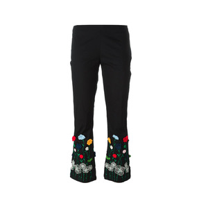 Medium vivetta embroidered floral cropped trousers farfetch